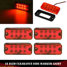 """4x Red 4"""" Inch 8 LED Rectangle Truck Semi Trailer Side Marker Clearance Light"""