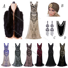 1920s Flapper Dress Vintage Gatsby Black Roaring Evening Wedding Party Costume