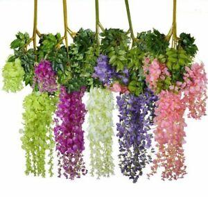 Artificial Wisteria Flowers Fake Silk Hanging Rattan Vine Flower Wedding Deco UK
