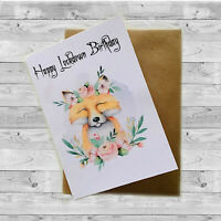 Greeting Card Happy Lockdown Birthday, Woodland Friends, Fox, Isolation Birthday