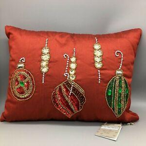 Kim Seybert Christmas Ornament Pillow Beaded Burgundy Red Embellished 12x16 NEW