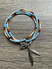 Native American Handcrafted Seed Bead Single Strand Triple Wrap Bracelet