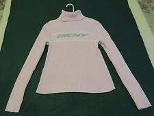 DKNY Active Pink Cotton Long Sleeve Ribbed Knit Turtleneck Sweater - Size L
