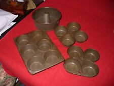 Lot of vintage bakeware muffin tins and tube pan OLD