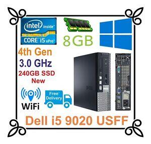 Fast DELL 9020 USFF PC Intel i5-4590 3.0GHz 4th Gen 8GB RAM 240GB SSD Wifi Win10