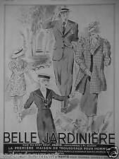 PUBLICITÉ 1936 BELLE JARDINIÈRE VÊTEMENTS POUR HOMMES DAMES - ADVERTISING