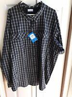 NWT Men's Columbia Omnishade Grey Plaid Button Down Shirt Vented $70 Size 3XL