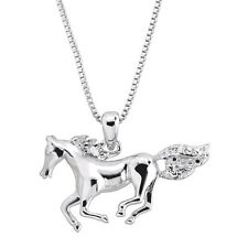 Horse Pendant Necklace With Diamond in 14k White Gold-plated Brass
