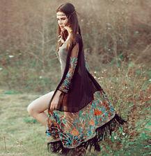 Vintage Women Boho Floral Tassel Beach Long Cover Up Tops Chiffon Kimono Shirt