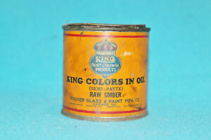 VINTAGE KING PAINT PRODUCTS - COLORS IN OIL - RAW UMBER - EMPTY - COLLECTORS