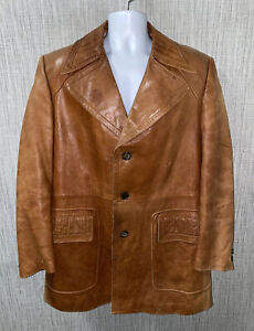 Cortefiel Mens Brown Leather Spain Made Button Front Jacket Size 46