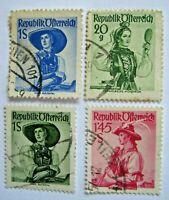 AUTRICHE 1947 Costumes Typiques  4 pcs  Stamps Timbre Sellos Collection