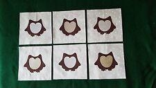 Set of 6 Owl Appliqué Quilt Top Blocks~4201b