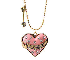 Love Heart Locket Pendent with Ring Inside Chain Necklace