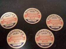 Vintage 5 Small  Showalters Dairy Milk Lids Caps Phoenixville PA Rare