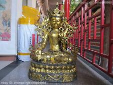 """39""""Huge Tibet Fane Bronze gild White Tara Kwan yin Foo Dog Lion Buddha statue"""