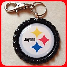 Personalized PITTSBURGH STEELERS Bottle Cap,Key Ring Chain, Backpack Zipper Pull