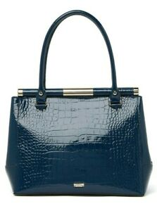 $698 NWT KATE SPADE KNIGHSBRIDGE CONSTANCE CROC EMBOSSED LEATHER TOTE BAG BLUE