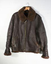Vintage Mens Shearling Brown Leather Aviator Flying Jacket LARGE / XL