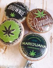 Marijuana Birch Wood Knobs, Handmade, Set of 4 Retro Hemp Cannabis Drawer Pulls