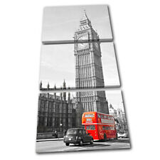 London Big Ben Landmarks Red Bus  City TREBLE CANVAS WALL ART Picture Print