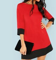 Red Green Round Neck 3/4 Sleeve Colorblock Elegant Short Tunic Dress Casual Work