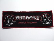 bathory black metal hordes red border   WOVEN  PATCH