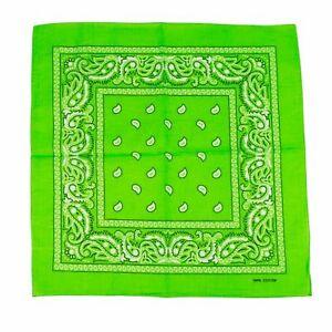 1 Lime Green Paisley Bandana Cotton Face Mask Cover HeadWrap Scarf Lot Bandanna