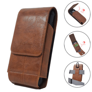Cellphone Belt Holster Leather Carrying Case Vertical Wallet Pouch w/ Card Slots