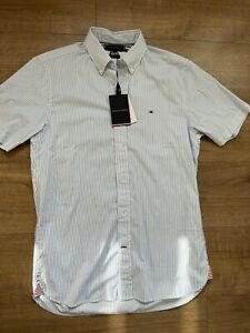 New Tommy Hilfiger Mens Slim Fit Short Sleeved Striped Shirt Top Size S Small