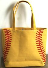 NEW Yellow Softball Stitch Totes Shopping Bag Tote Mom Purse Carrier Lined Beach