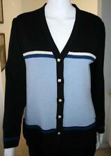 "St John Knit SJK  (1980s) 40"" Bust Black/White/Dark Blue/Light Blue Cardigan EUC"