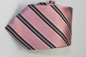 Ermenegildo Zegna men's Pink stripectie 3.75 inches $203