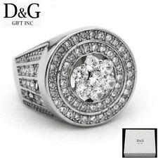 DG Men's Stainless Steel Silver Brilliant CZ Big Rings 8 9 10 11 12 13 *Box