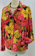 Chicos floral suit Jacket light Coat multi Linen cotton button Chico SZ 3 L NEW