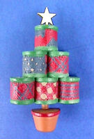 Hallmark PIN Christmas Vintage TREE Sewing THREAD SPOOLS Holiday Brooch