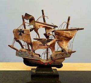 "Antique Sea Going ""Clipper"" Vessel (Mast Ship). Hand Made In Wood And Leather"