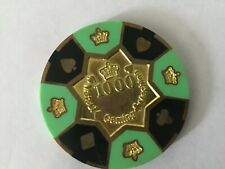 Matsui Gaming $1000 prototype brass-core casino chip