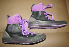 Girls Converse All Star size 1 Junior Chuck Taylor Black w/ Purple high tops