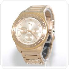 PUMA WOMENS GOLD TONE MULTIFUNCTION SATAINLESS STEEL WATCH PU102912001