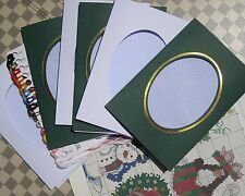 christmas cards cross stitch kits, 14ct, 6 pieces, 3 in green 3 in white