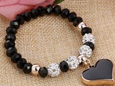 Heart Charm Pendant Elastic Black Bracelet Bangle Shambhala Crystal Bead Jewlery