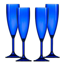 Plastic Polycarbonate Champagne Flutes - Blue- Made in UK