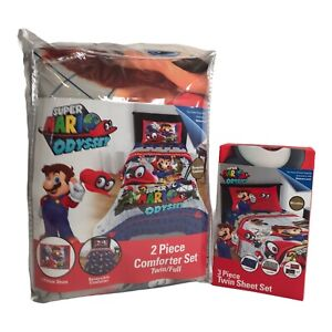 Super Mario Odyssey Reversible Twin/Full Comforter and TWIN Sheet Set 5 Pieces