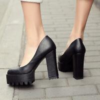Womens Platform Round Toe Solid Block High Heels Slip On Club Mary Jane Shoes