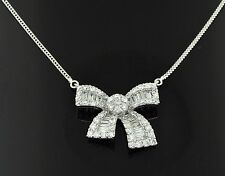 18k Solid White Gold Natural Diamond Necklace Stylish Bow Ribbon 2.20ct Baguette