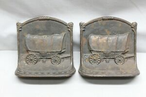 HOWELL CO COVERED WAGON WESTERN BOOKENDS