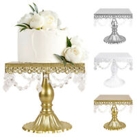 Square Cake Stand w/Crystals Wedding Party Metal Cupcake Dessert Display Plate