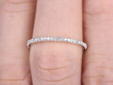 Sterling Silver Thin Micro Pave Wedding Band 0.25 Ct Round Eternity Rings In 925