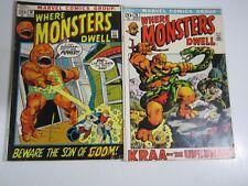 Where Monsters Dwell Lot- 2 Issues #15,16  (Marvel Comics) VG+ GooGam Kraa